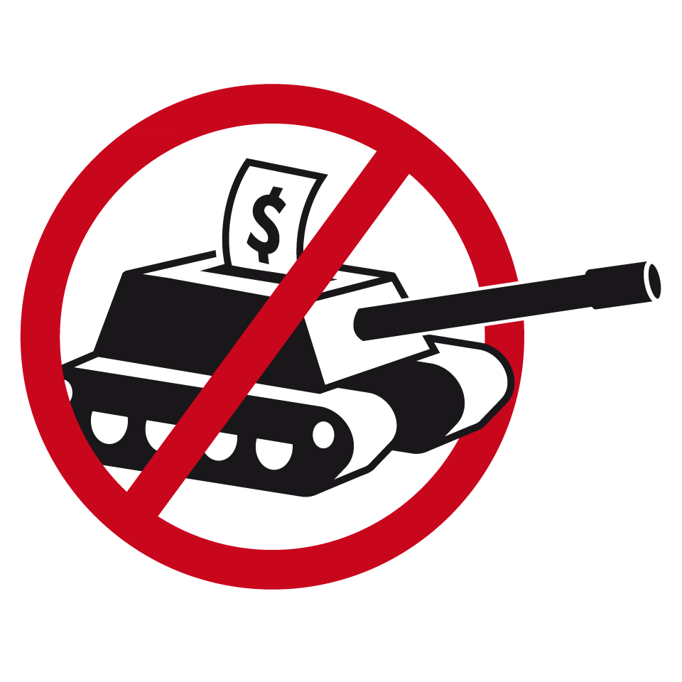 GSOA logo - a tank with a dollar bill with a cross through it