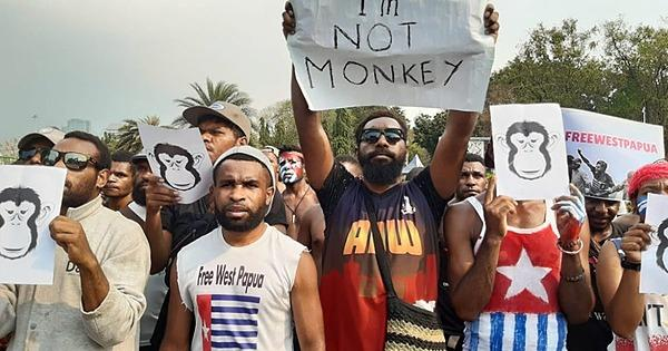 "A number of people stand with monkey masks. One holds a sign reading ""I'm not a monkey"""