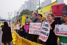 WRI activists take part in a demonstration against the ADEX arms fair in 2015