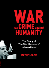 The cover of War is a Crime Against Humanity, with a protester burning their draft card