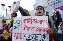 International activists take action against the ADEX arms fair