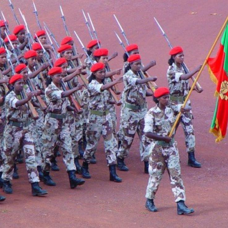 Eritrean women in the military marching