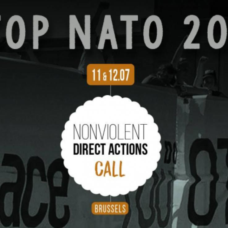 Plakat, das liest: Stoppt NATO 2018 11 & 12 .07 Nonviolent Direct Actions Call